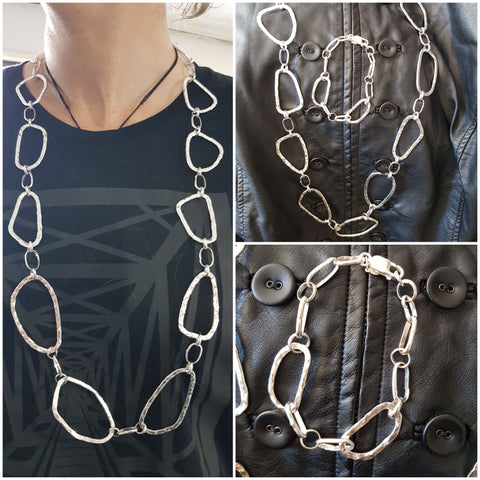 Sterling Silver long textured chain