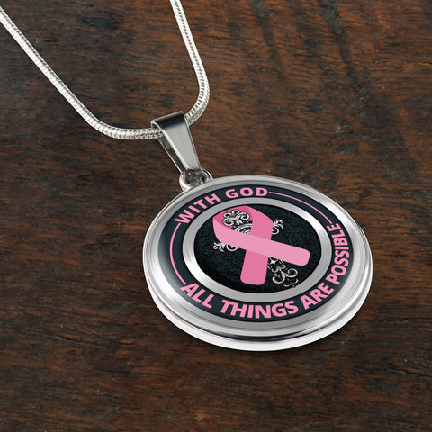 Image of Cancer Necklace - With God All Things Are Possible