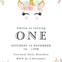 Unicorn Birthday Party Invitation -  Invitation - Adore Paper
