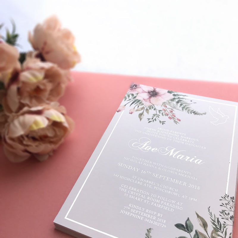 Fall In Love - Christening -  invitations - Adore Paper