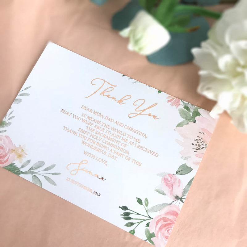 Floral Blush - Thank You Card -  invitations - Adore Paper