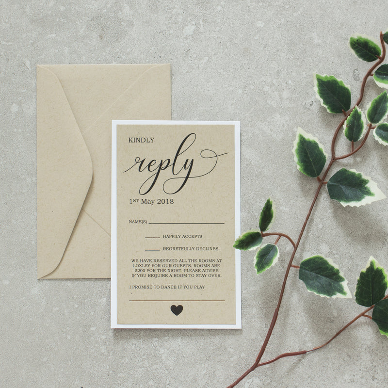 Rustic Love RSVP -  invitations - Adore Paper