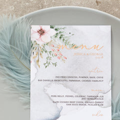 Fall In Love - Blush Menu -  invitations - Adore Paper