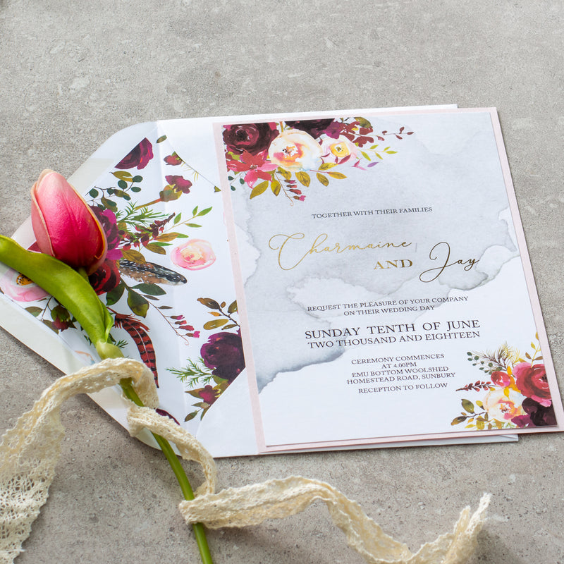 Fall In Love - Burgundy Invitation -  invitations - Adore Paper