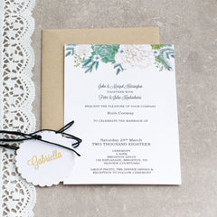 White Peonies and Succulents -  invitations - Adore Paper