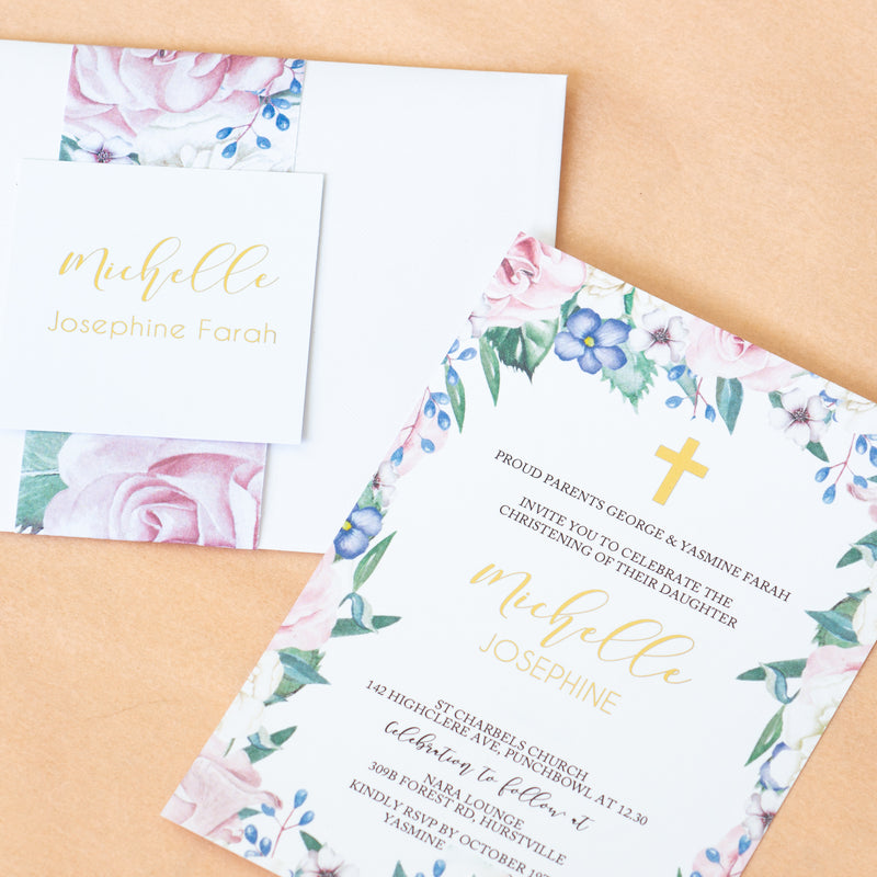 Secret Garden - Christening -  invitations - Adore Paper