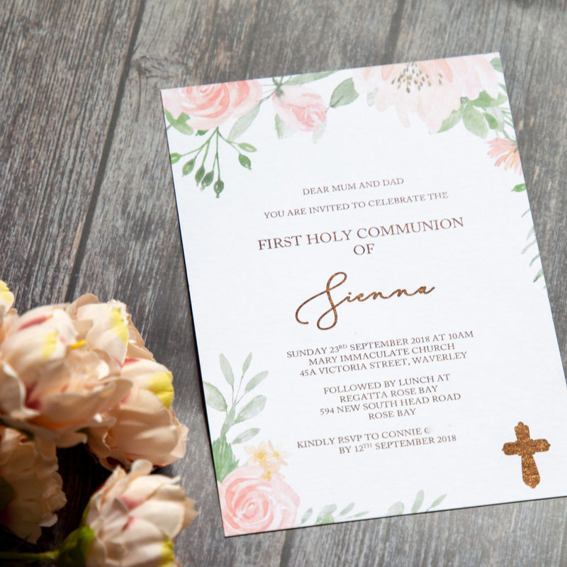 Floral Blush Holy Communion -  invitations - Adore Paper