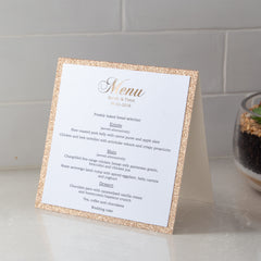 Glitter Freestanding Menu -  invitations - Adore Paper