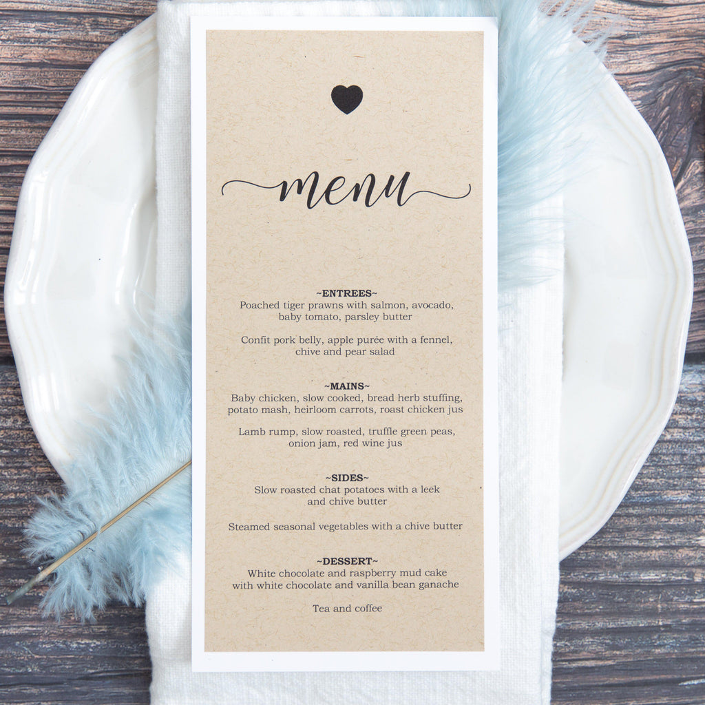 Rustic Love Menu