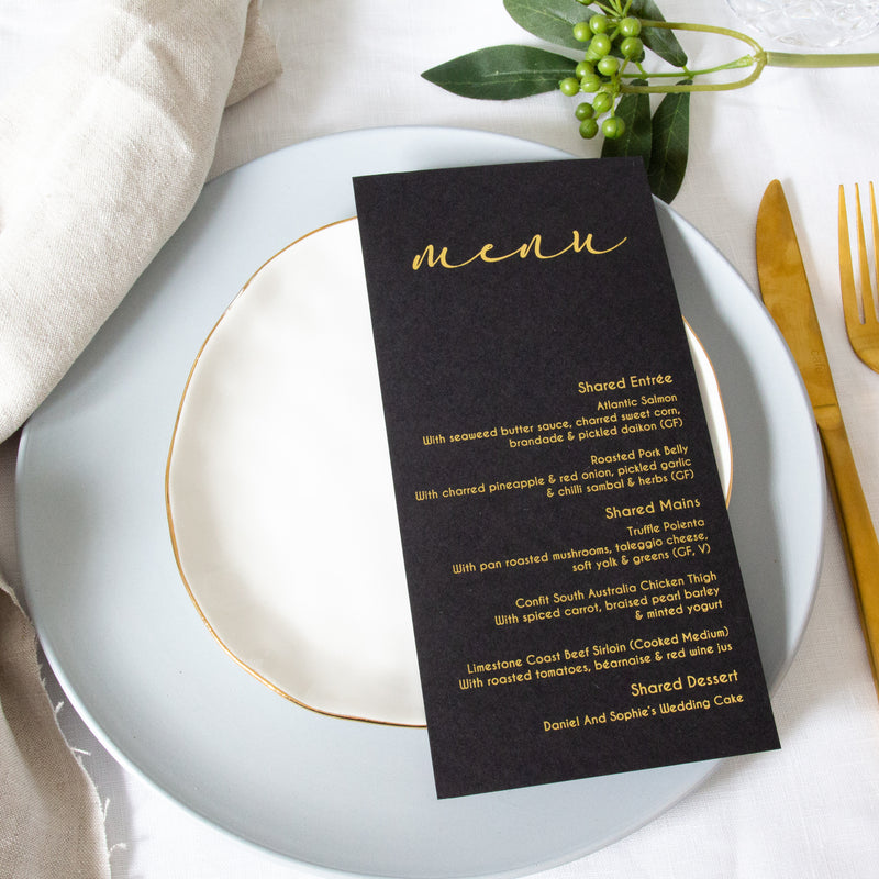Ebony - Menu -  invitations - Adore Paper