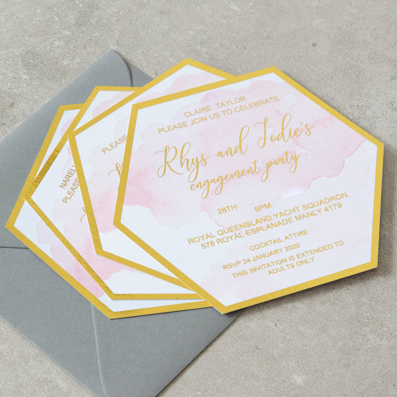 Hexagon Shape Invitation -  invitations - Adore Paper