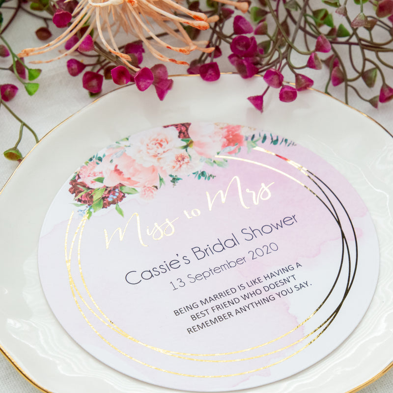 Pink and Gold Round Cards