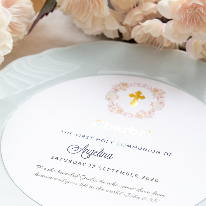 Floral Crest Round Cards
