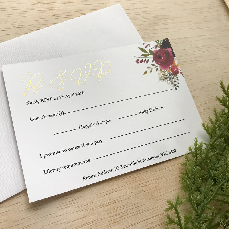 Fall In Love - Burgundy RSVP -  invitations - Adore Paper