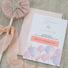 Bubble and Balloons Invitation -  birthday invitations - Adore Paper