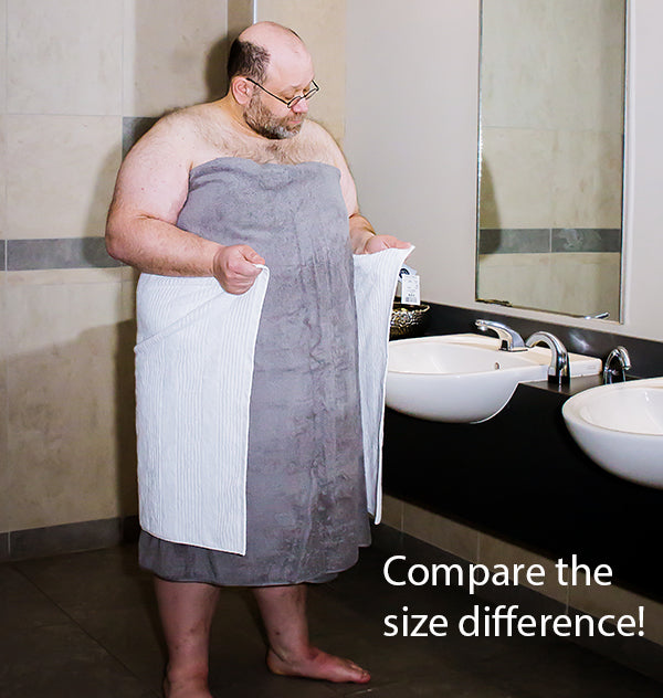 Standard towels compared to oversized