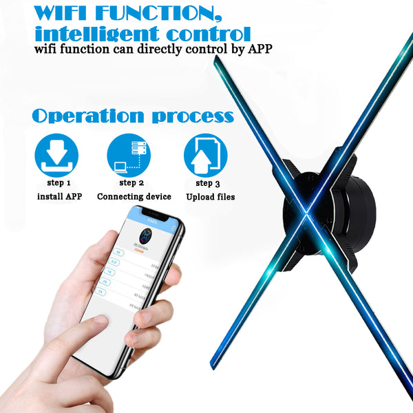 50CM 4 fan hologram fan light with wifi control 3D Hologram Advertising Display LED Fan Holographic Imaging for holiday shop