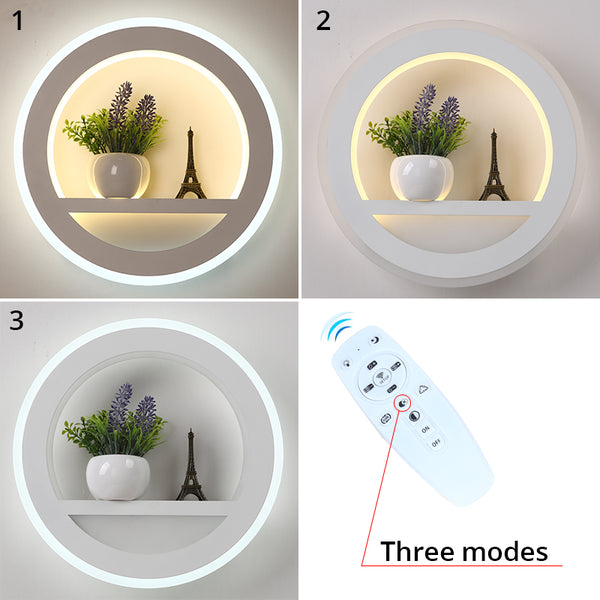 LED Wall Lamp Dimmable 2.4G Remote Control Modern Bedroom Living Room Decoration Lighting Wall Light With Flower