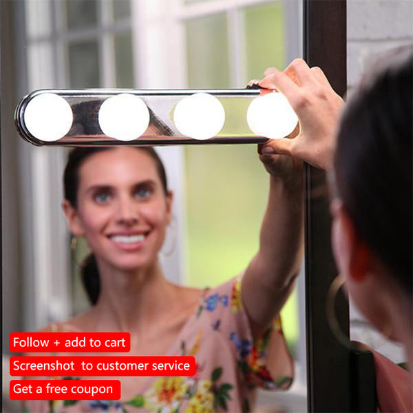 Studio Glow 4 LED Bulbs Make Up Light Super Bright Portable Cosmetic Mirror Light Kit Battery Powered Makeup Light wall lamps