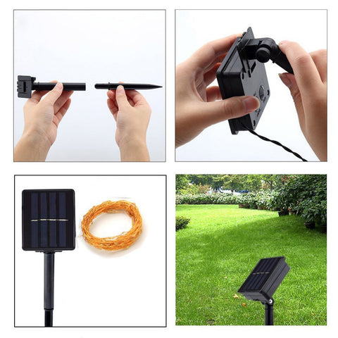 Solar Powered Fairy Lights 10M 100led IP65 Waterproof Sliver LED String for Outdoor Christmas Garden Lamp