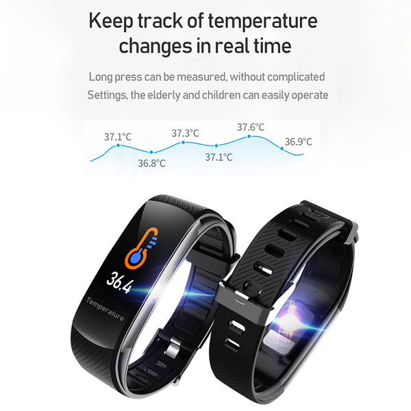 Body Temperature Smart Band Information Push Sleep Exercise Step Waterproof Sports Smart Bracelet Blood Pressure Monitoring