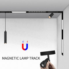 creative magnetic lamp holder aluminum 0.5M 1M ceiling recessed suspended LED magnet mount lights track Rail