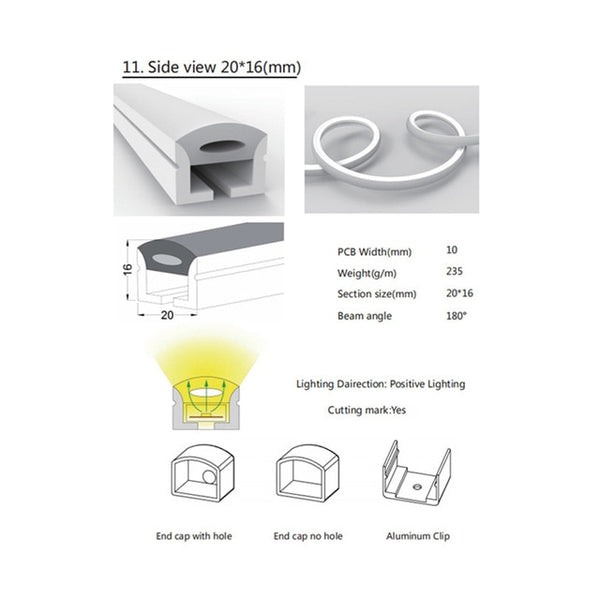 LED Neon Rope Tube Silicone Gel Flexible Strip Light Soft Lamp Tube IP67 Waterproof For Home Decoration