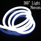 360 Degree Round LED neon Strip 220V 240v Flexible Neon Light Waterproof 120leds/m round two-wire Outdoor light 1m 5m 10m 20m 50