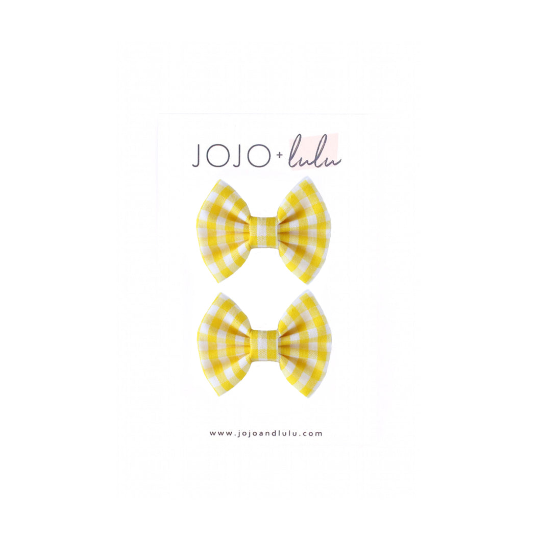 The mini Mae Pigtail Set  ::  Yellow Gingham
