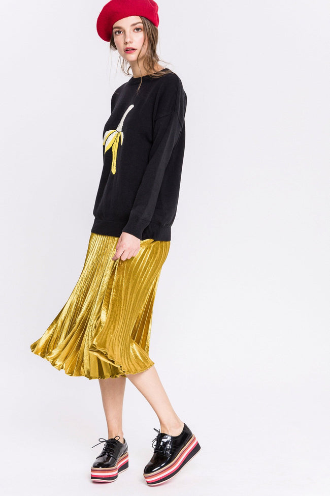 Metallic Golden Satin Pleated Skirt