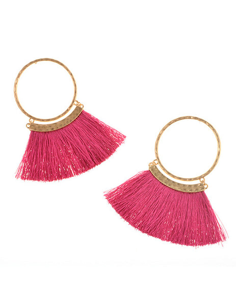 Pink Tassel & Gold Earrings