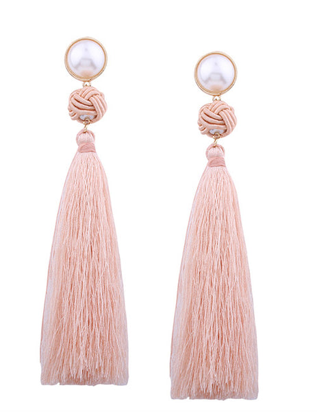 Pearl Long String Earrings