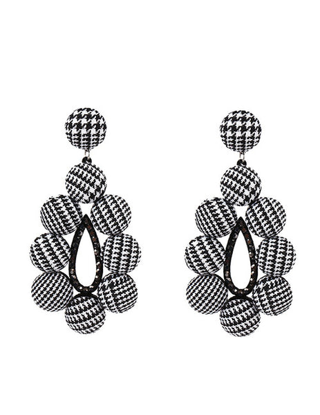 Houndstooth Earrings with Black Crystals