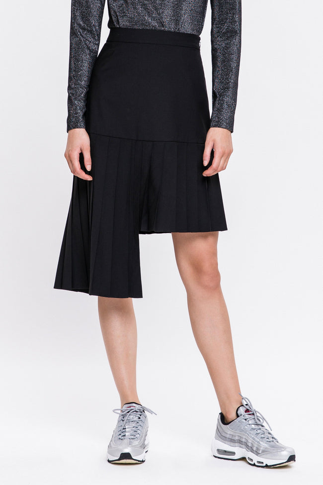 Black Asymmetric Pleated Skirt