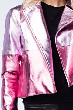 Hot Pink Metallic Leather Skirt