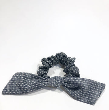 Chambray Dot Bow Scrunchie