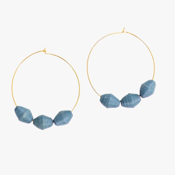 The Three Bead Hoop Earrings - Bluestone