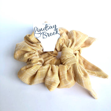 Warm Yellow Linen Bow Scrunchie