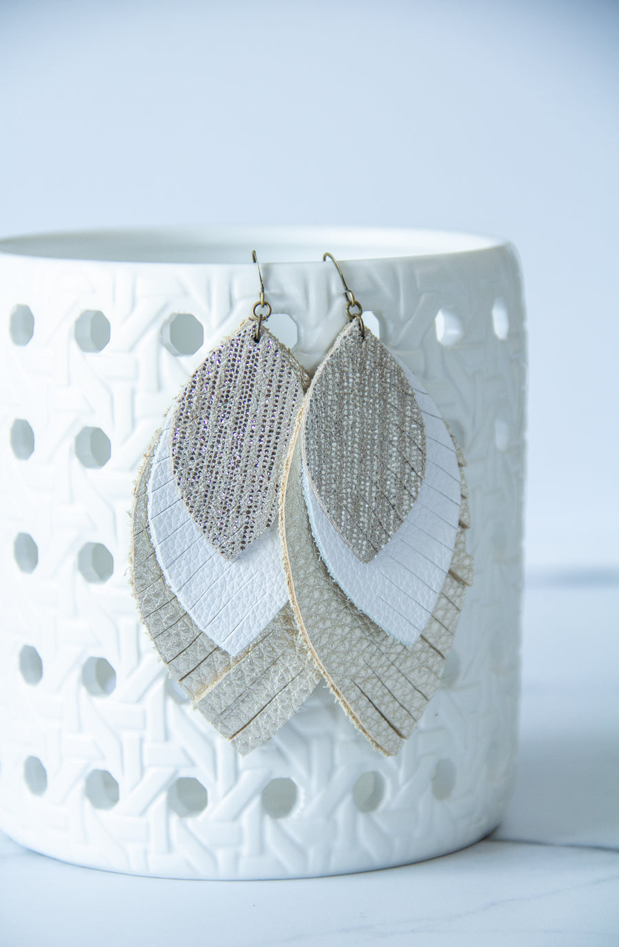 Leather Earrings - Champagne + Metallic