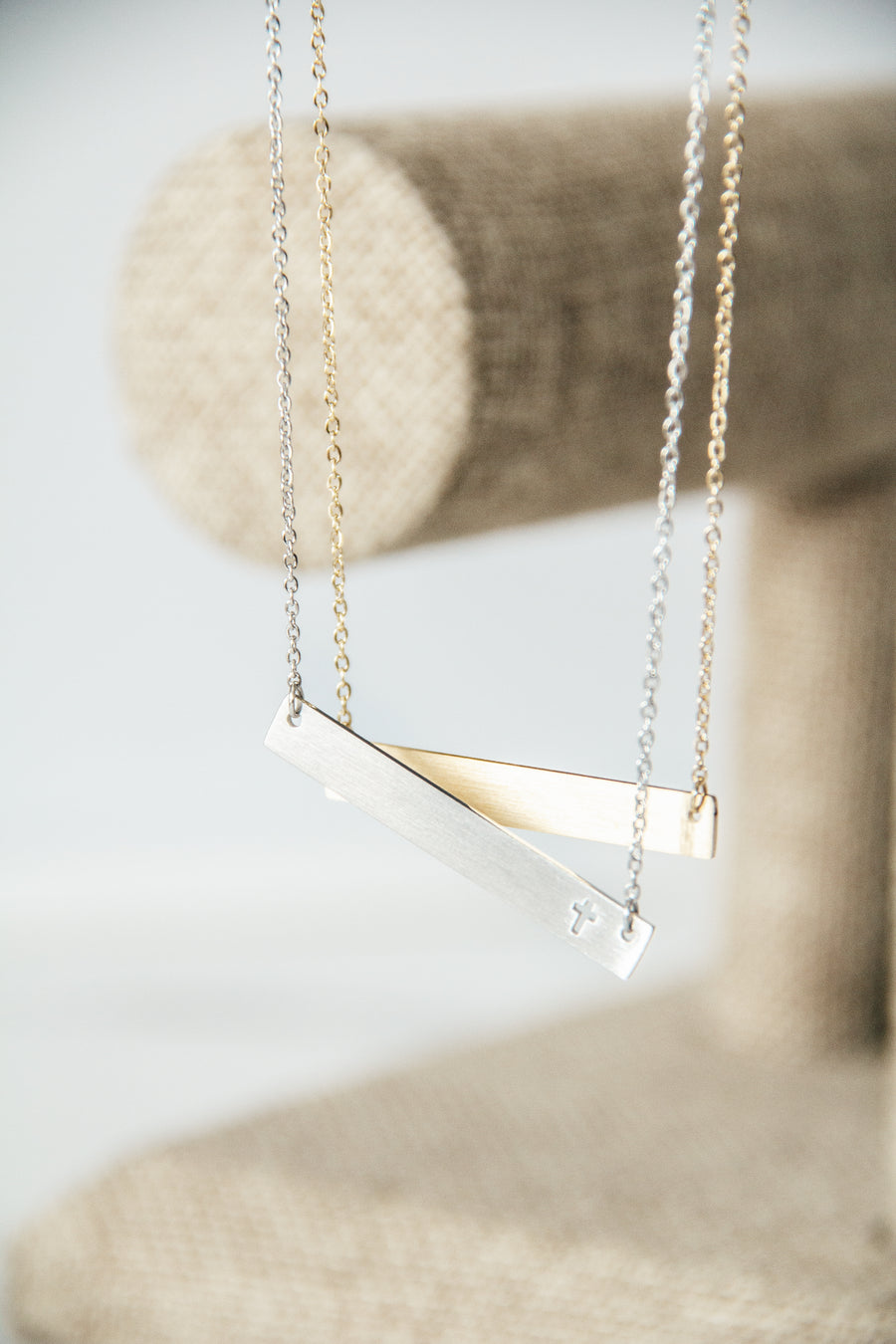 Layla Cross Bar Necklace - Silver & Gold