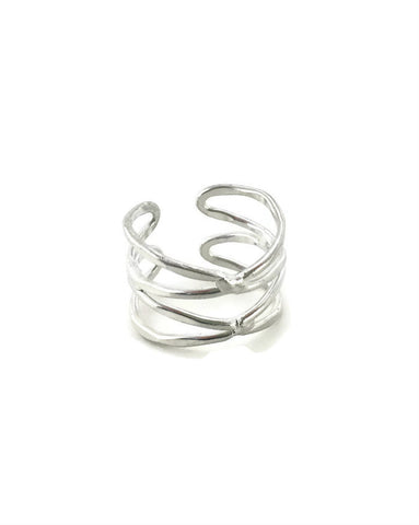 Dual Helix Ring - Silver