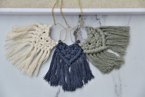 Macrame Necklace - Multiple Colors Available