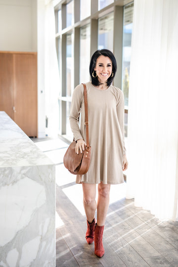 Long Sleeve Swing Dress - Taupe