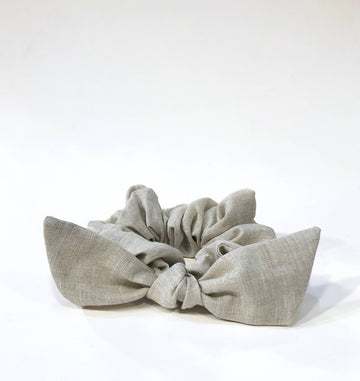 Natural Linen Bow Scrunchie