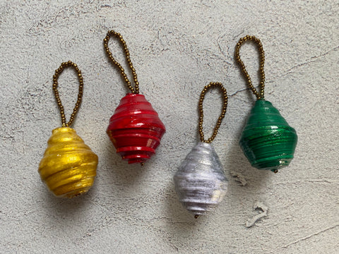 Paper Bead Ball Ornament - Multiple Colors Available