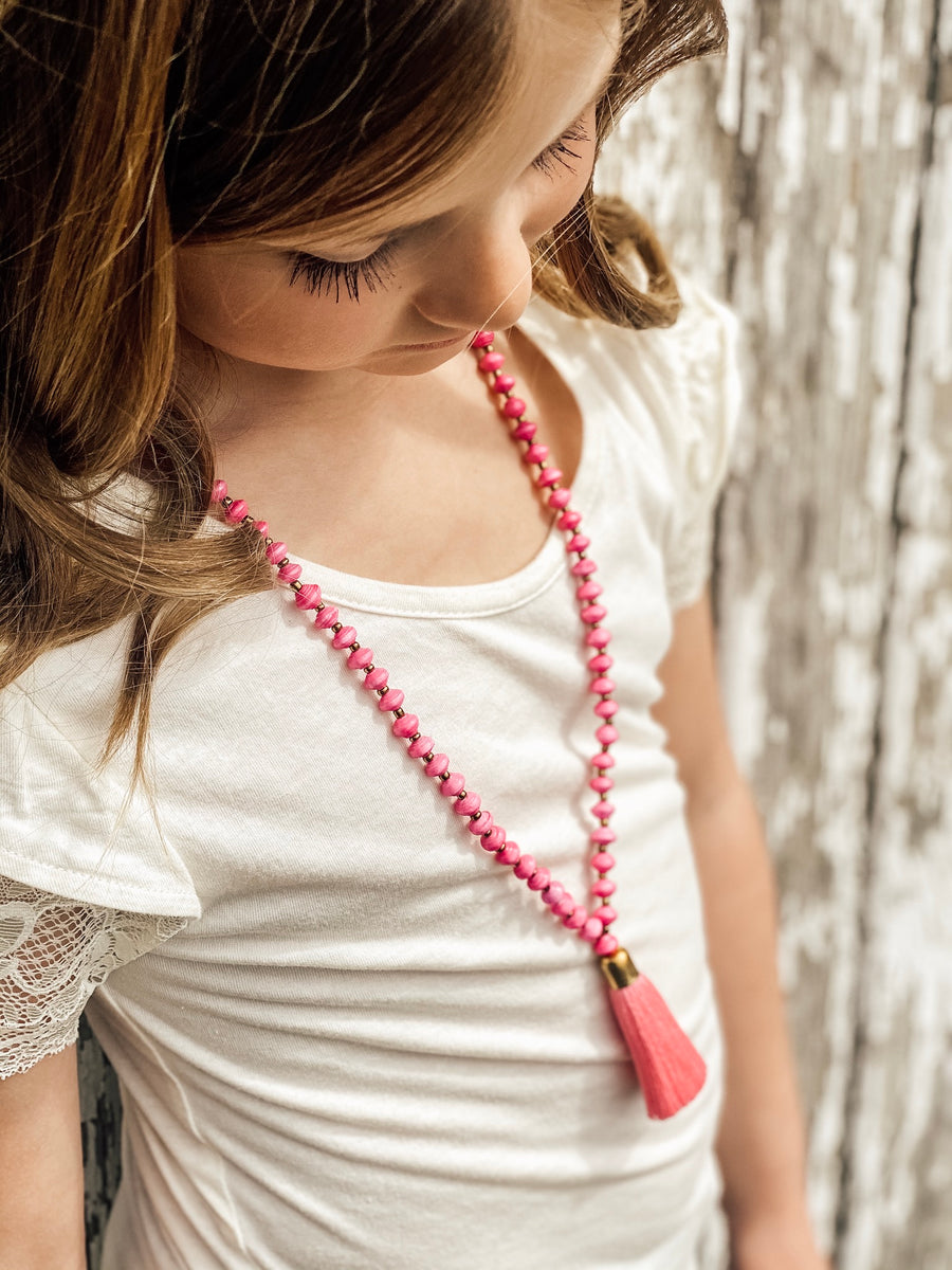 Kids Paper Bead Tassel Necklace - Multiple Colors Available