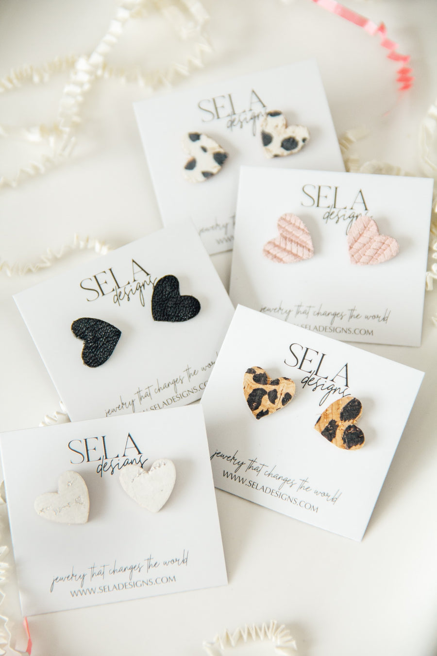 Heart Leather Studs - Multiple Colors Available