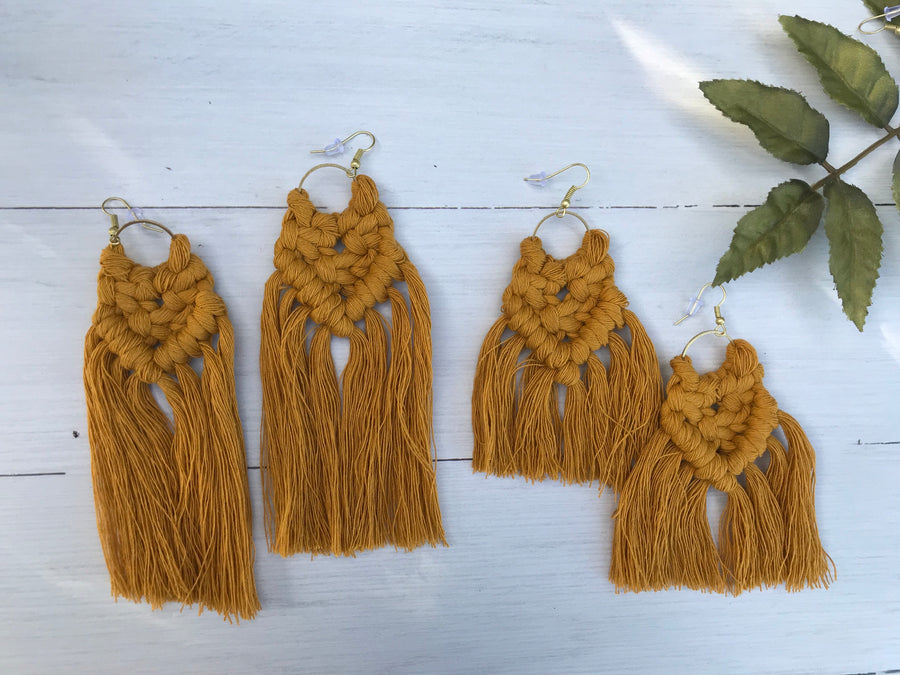 Macrame Earrings - Mustard