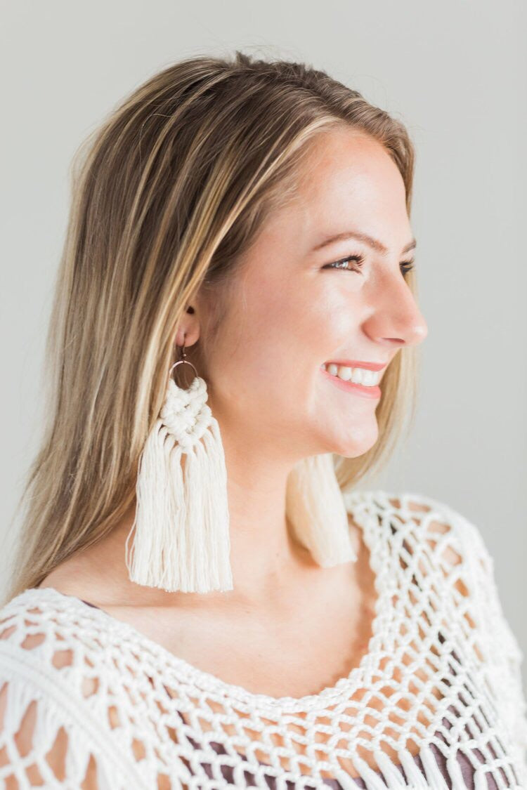 Macrame Earrings - Sage