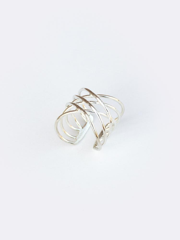 Layered Oval Ring - Silver